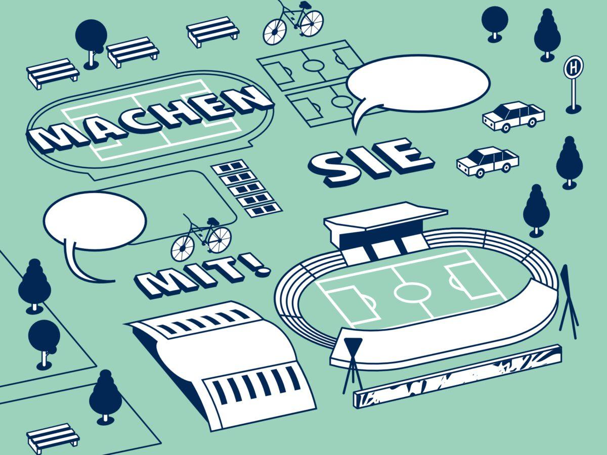 Cover-Auszug des Veranstaltungsplakates zur 1. Werkstatt. Illustration zeigt typische Architektur-Elemente des Jahnsportparks.