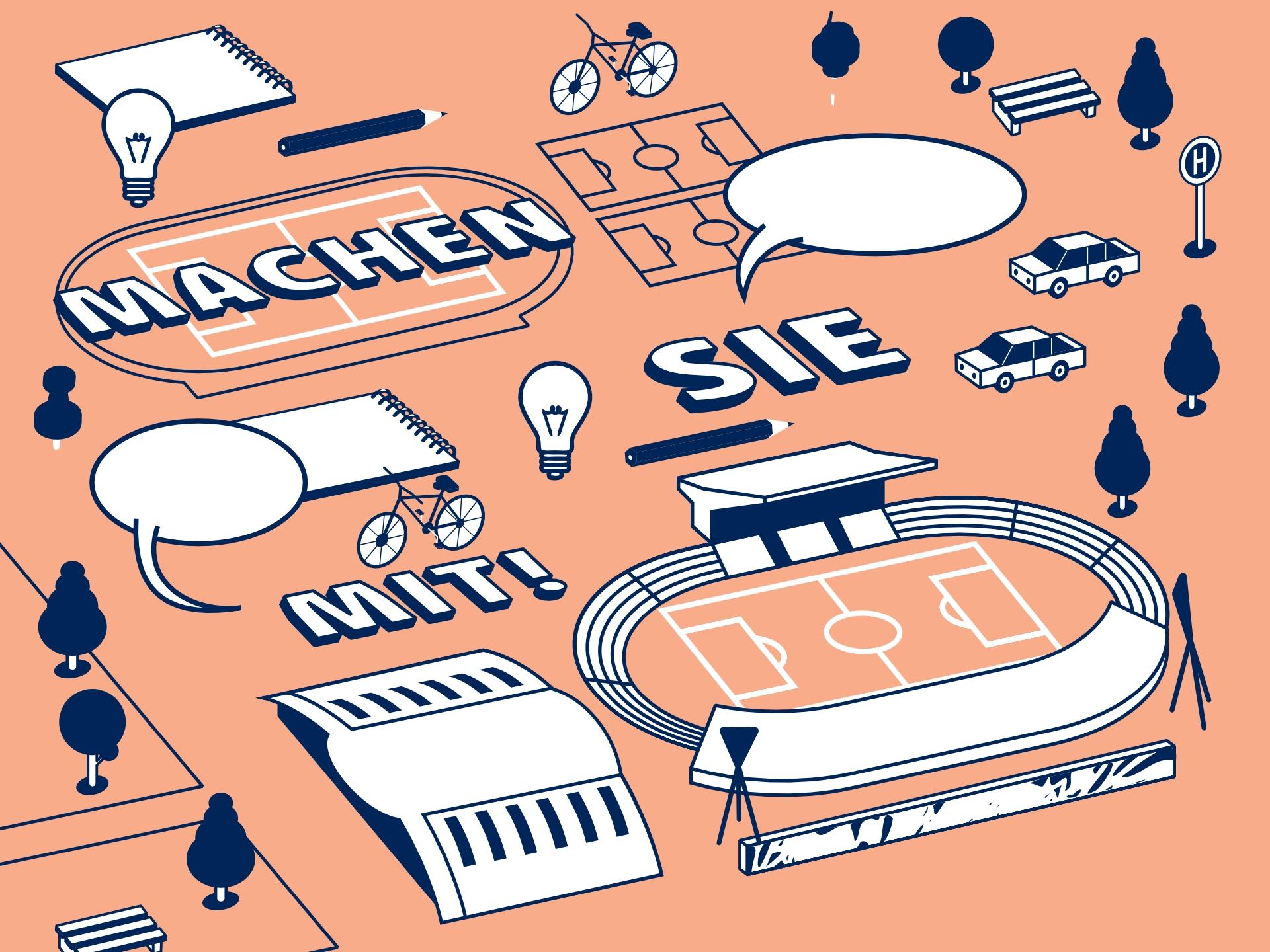 Cover-Auszug des Veranstaltungsplakates zur 2. Werkstatt. Illustration zeigt typische Architektur-Elemente des Jahnsportparks.