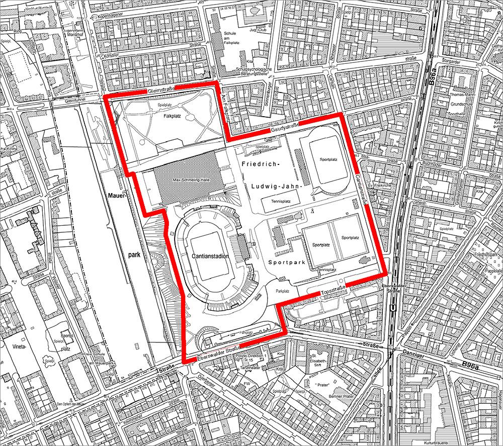 Kartenausschnitt von Berlin mit Markierung des Geltungsbereiches des Bebauungsplans 3-87