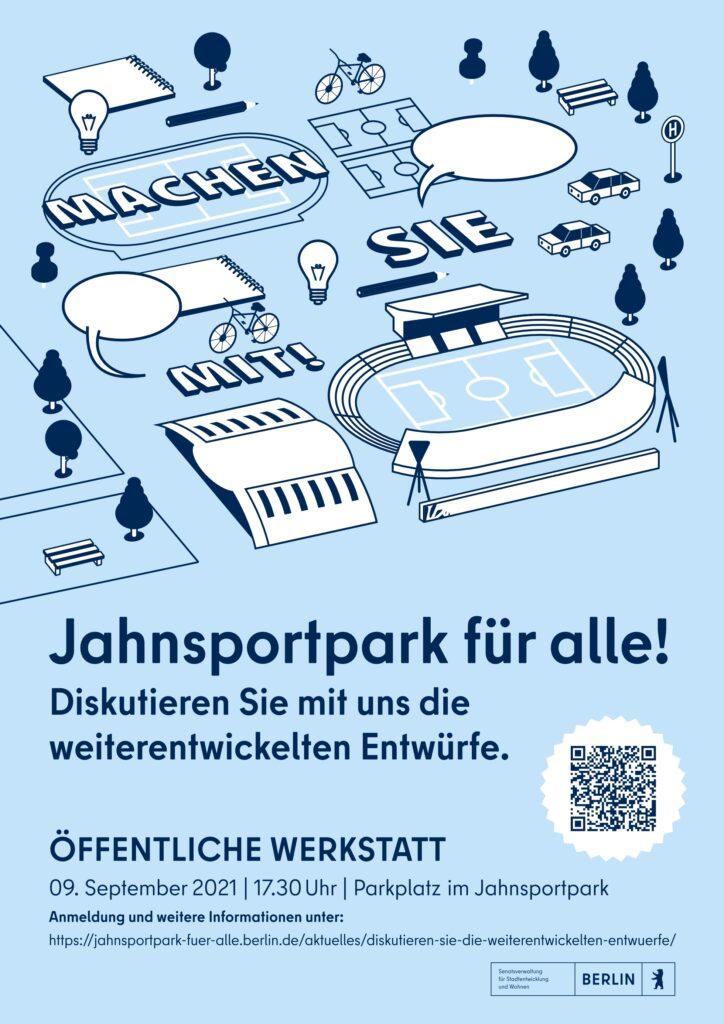 Cover-Auszug des Veranstaltungsplakates zur 3. Werkstatt. Illustration zeigt typische Architektur-Elemente des Jahnsportparks.